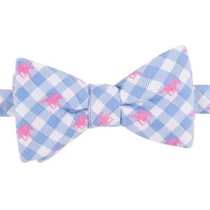 Blue gingham horse derby 🐎 bow tie